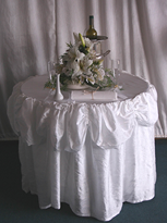 cake table with silk frill
