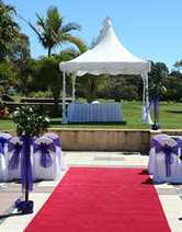 wedding pagoda and red carpet