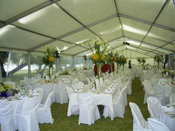 Perth wedding marquees your wedding marquee and party hire inside 12 metre structure with table settings junglespirit Images